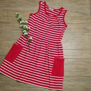 Hanna Andersson Red White Stripe Dress 130 7 8